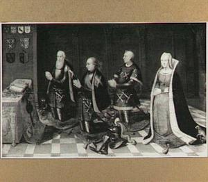 Portret van Arent van der Lindt (..-1380), ambachtsheer van Lindt, Willem van der Lindt (..-1406), Jan van der Lindt (..-1458) en zijn echtgenote Engel van den Burch (..-..)