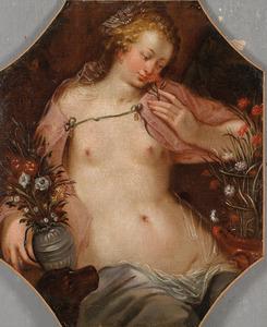 Vrouwelijk personificatie van een der vijf zintuigen: de Reuk