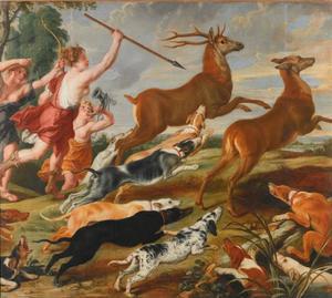 Godin Diana en haar nimfen op hertenjacht (Ovidius, Metamorfosen, III: 206-250)