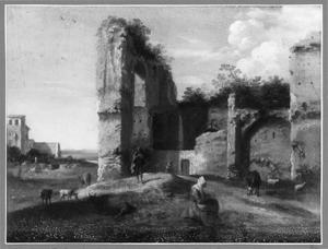 Landschap met ruïnes en een zittende vrouw