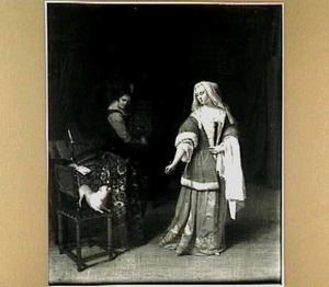 Interieur met een dame en haar dienstbode en een hond