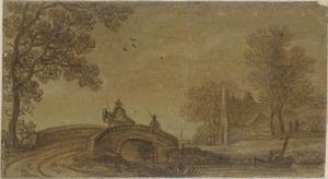 Landschap met een brug over een beek en een huis in het verschiet