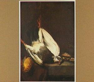 Stilleven met een dode duif, een Vlaamse gaai en vinken