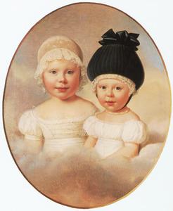 Portret van Willemine Louise van Loon (1823-1894) en Henrietta Agnes van Loon (1825-1902)