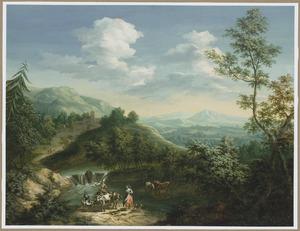 Berglandschap met herders en hun dieren bij een rivier
