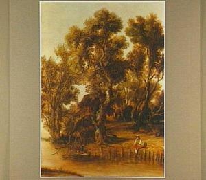 Hengelaars en een wasvrouw aan de oever van een rivier