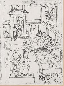 De H. Giovanni Gualberto en een wonderbaarlijke spijziging in de refter van de abij van Vallombrosa