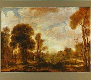 Bebost polderlandschap bij zonsondergang