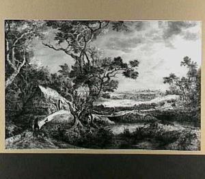 Landschap met boerenhut, op de achtergrond een stad