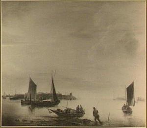 Riviergezicht met vissersschepen