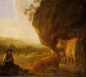 Landschap met fluitspelende herder