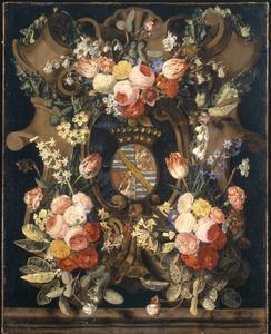 Bloemen rond een (later ingevoegd) heraldisch wapen
