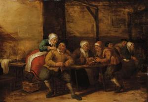 Boerengezelschap in een interieur rondom een tafel