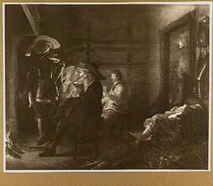 Rustende soldaten in een wachtlokaal