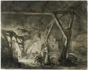 Stalinterieur met een boer met een haspel en een boerin aan de karnton
