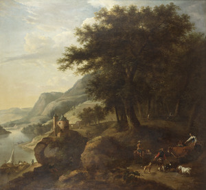 Berglandschap met herders en vee op een bospad