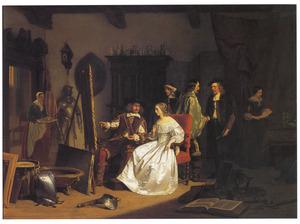 Jan Six (1618-1700) bezoekt het atelier van Rembrandt