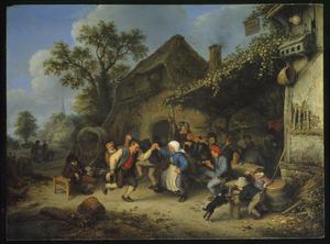 Dorpstafereel met dansende boeren bij een herberg