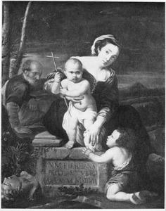 De H. Familie met Johannes de Doper als kind in aanbidding