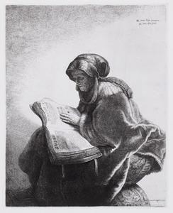 Een lezende oude vrouw, waarschijnlijk de profetes Hanna