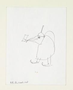 Brief aan Alje Olthof met roodborstje en op de achterzijde een Jeroen Bosch monster