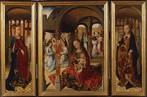H. Catharina (binnenzijde links), Maria met kind en musicerende engelen (midden), H. Barbara (binnenzijde rechts)