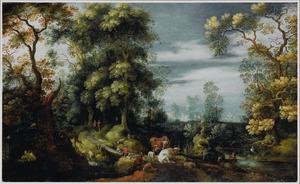 Boslandschap met herders, reizigers en vee