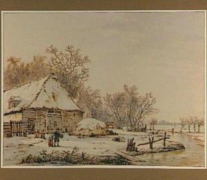 Winterlandschap met figuren bij een boerderij