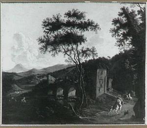 Zuidelijk landschap met ruiters bij een stenen brug (Ponte Milvio?)