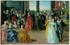Venetiaans dansgezelschap met Commedia dell'Arte groep