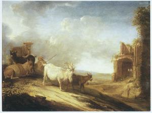 Landschap met een herder, geiten en een koe op een weg langs een ruïne