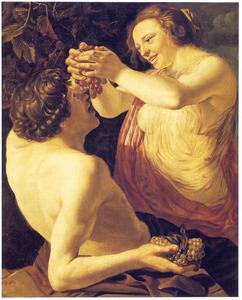 Allegorie op de Smaak: een nimf die een druiventros uitknijpt boven de mond van een sater