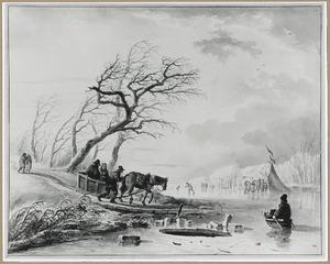 Winterlandschap met arreslee bij bevroren rivier