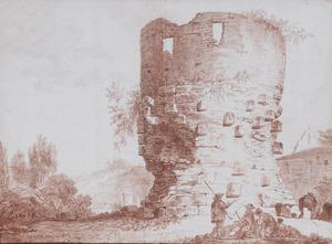 Landschap met ruïne van een toren naast een kerkje en rustende herders