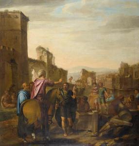 Italianiserend stadsgezicht met figuren