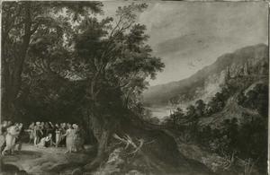 Landschap met Christus en de overspelige vrouw (Johannes 8, 1-11)