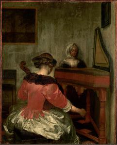 Twee musicerende vrouwen in een interieur