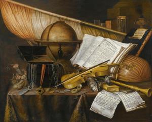 Vanitasstilleven met boeken, muziekinstrumenten, een globe, een vaandel en andere voorwerpen gerangschikt op met een kleed bedekte tafel