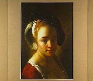 Tronie van een jonge vrouw met een bepluimde baret
