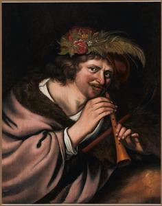 Een herder met een schalmei en bloemen op zijn muts