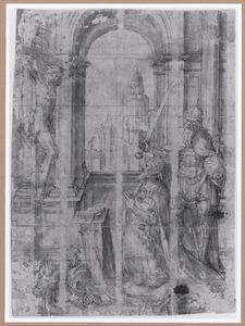 Keizer Karel V met keizer Karel de Grote, knielend voor een crucifix