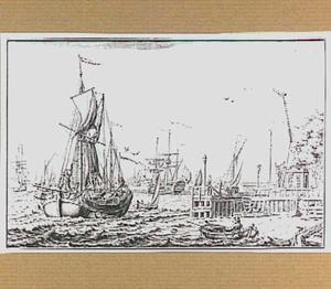 Het IJ in Amsterdam vanuit het noorden gezien, met op de voorgrond rechts de Tolhuissteiger