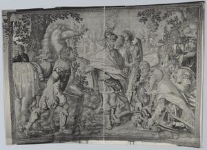 Alexander de Grote krijgt na zijn overwinning wapens ten geschenke en wordt als een god aanbeden