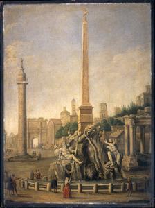 Capriccio met de zuil van Trajanus, mogelijk de triomfboog van Titus en andere Romeinse motieven