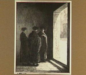 Drie vrouwen bij deur