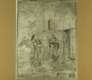Lot ontvangt de twee engelen aan de stadspoort van Sodom (Genesis 19:1-3)