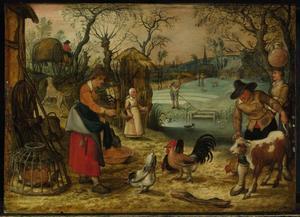 Landschap met werkzaamheden op en rond het boerenerf: allegorie op de Lente