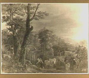 Zuidelijk landschap met vee bij een doorwaadbare plaats