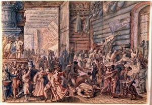 Feestvierend gezelschap in een interieur: allegorie op de maand februari