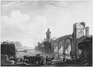 Rivierlandschap met een brug en figuren bij een aanlegplaats
